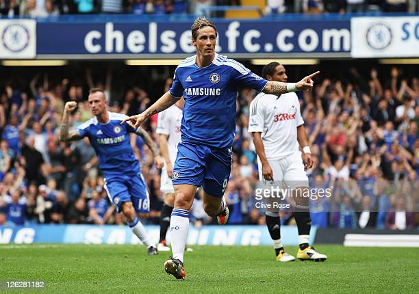 Fernando Torres of Chelsea celebrates as he scores their first goal during the Barclays Premier League match between Chelsea and Swansea City at...