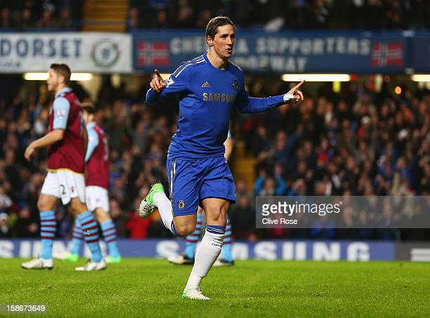 Fernando Torres of Chelsea celebrates as he scores their first goal during the Barclays Premier League match between Chelsea and Aston Villa at...