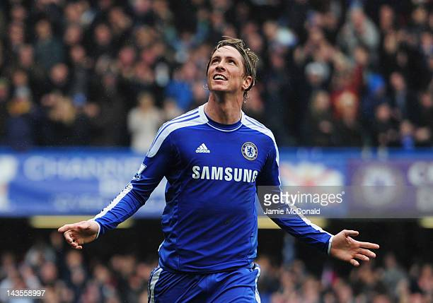 Fernando Torres of Chelsea celebrates as he scores their fourth goal during the Barclays Premier League match between Chelsea and Queens Park Rangers...