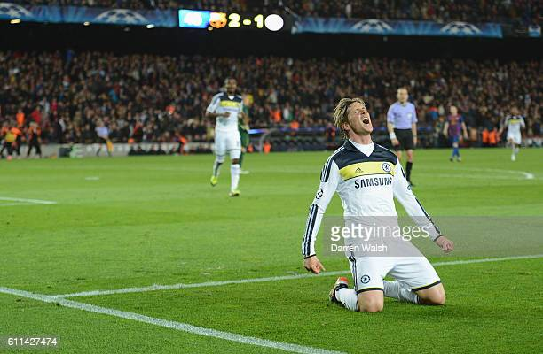 Fernando Torres of Chelsea celebrates his goal during the UEFA Champions League Semi Final second leg match between FC Barcelona and Chelsea FC at...