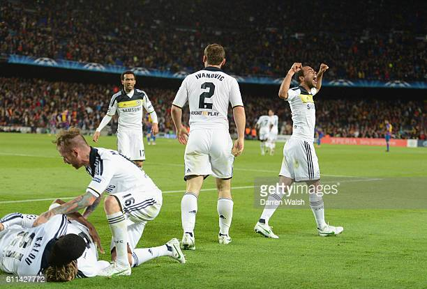 Fernando Torres of Chelsea celebrates his goal while Ashley Cole celebrates towards the fans during the UEFA Champions League Semi Final second leg...