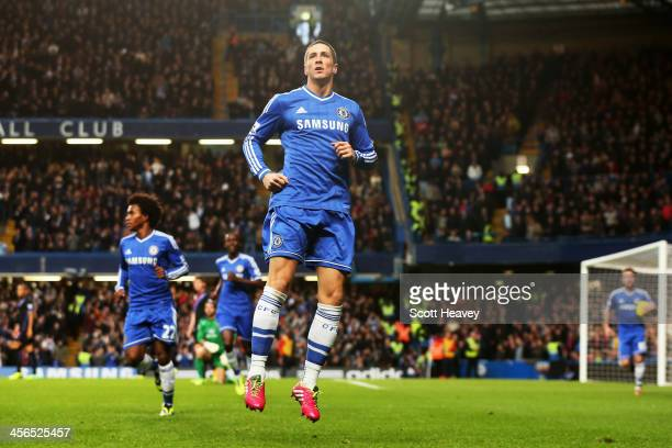 Fernando Torres of Chelsea celebrates scoring during the Barclays Premier League match between Chelsea and Crystal Palace at Stamford Bridge on...
