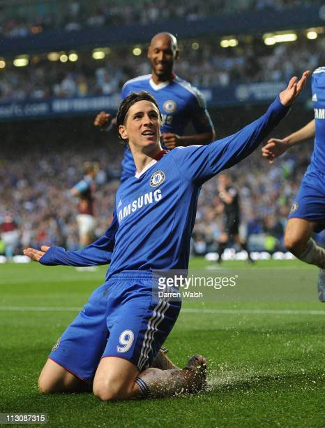 Fernando Torres of Chelsea celebrates scoring his first goal for Chelsea and his team's second goal during the Barclays Premier League match between...