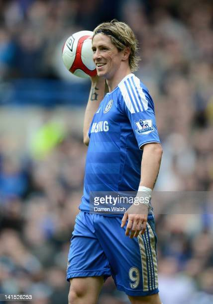 Fernando Torres of Chelsea celebrates scoring his side's third goal during the FA Cup Sixth Round match between Chelsea and Leicester City at...