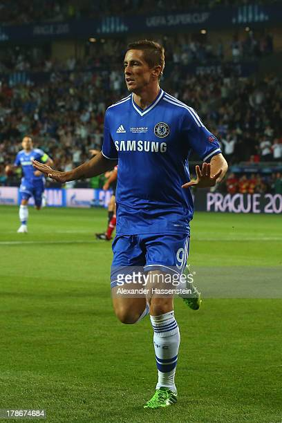 Fernando Torres of Chelsea celebrates scoring the opening goal during the UEFA Super Cup between FC Bayern Muenchen and Chelsea FC at Stadion Eden on...