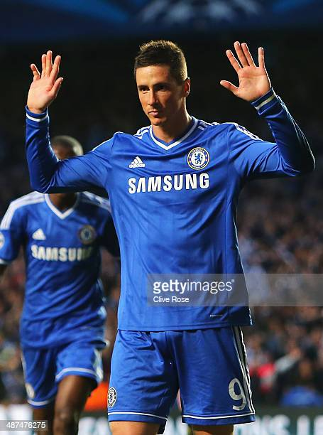Fernando Torres of Chelsea celebrates scoring the opening goal during the UEFA Champions League semifinal second leg match between Chelsea and Club...