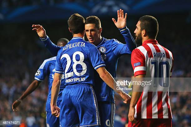 Fernando Torres of Chelsea celebrates scoring the opening goal with Cesar Azpilicueta of Chelsea during the UEFA Champions League semifinal second...
