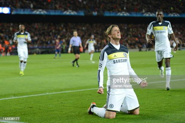 Fernando Torres of Chelsea celebrates scoring their second goal during the UEFA Champions League Semi Final second leg match between FC Barcelona and...