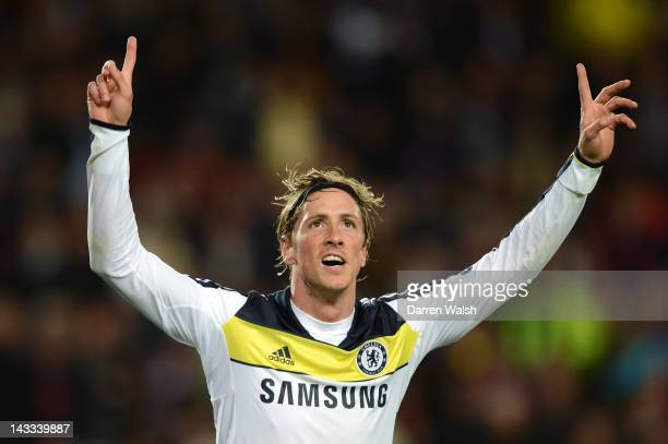 Fernando Torres of Chelsea celebrates scoring their second goal during the UEFA Champions League Semi Final, second leg match between FC Barcelona...
