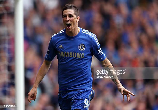 Fernando Torres of Chelsea celebrates scoring their second goal during the Barclays Premier League match between Chelsea and Everton at Stamford...