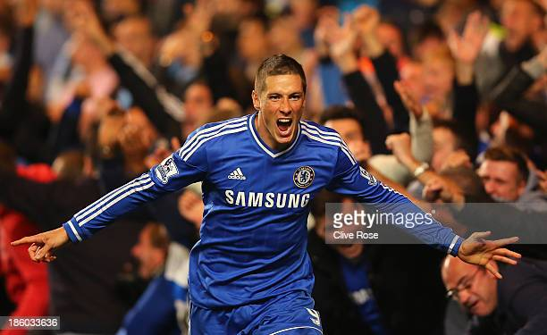 Fernando Torres of Chelsea celebrates scoring their second goal during the Barclays Premier League match between Chelsea and Manchester City at...