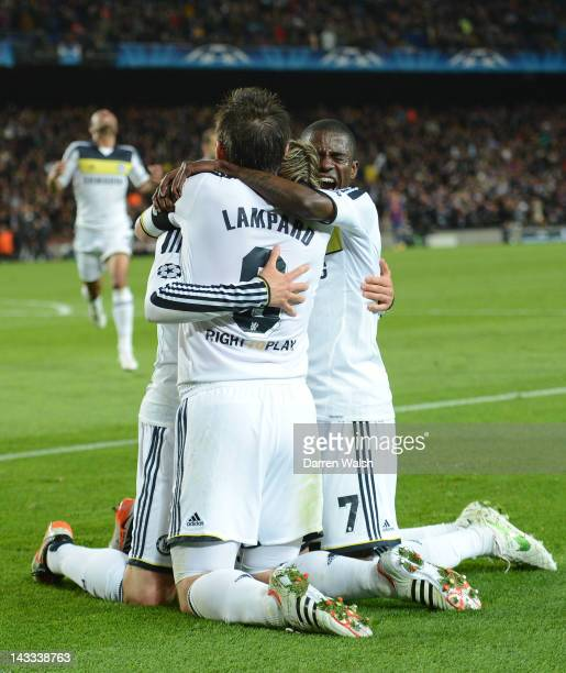 Fernando Torres of Chelsea celebrates scoring their second goal with Frank Lampard and Ramires during the UEFA Champions League Semi Final, second...