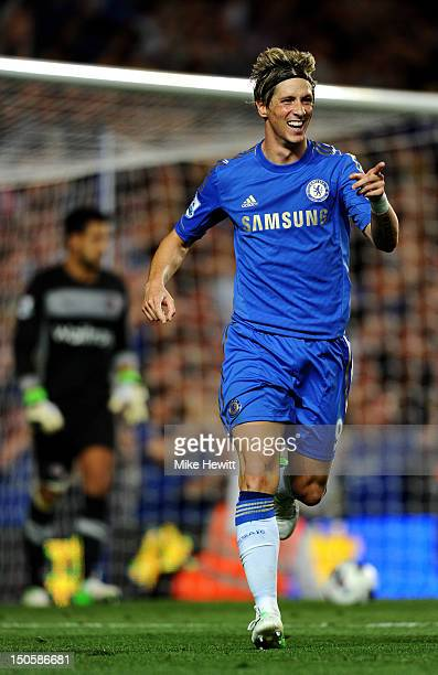 Fernando Torres of Chelsea celebrates scoring their third goal during the Barclays Premier League match between Chelsea and Reading at Stamford...