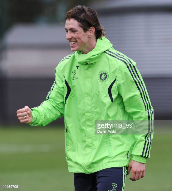 Fernando Torres of Chelsea during a training session ahead of their UEFA Champions League Quarter-final first leg match against Manchester United, at...