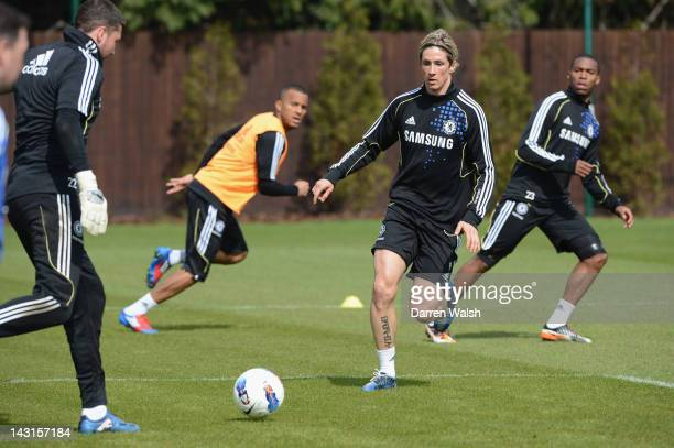 Fernando Torres of Chelsea during a training session at the Cobham training ground on April 20, 2012 in Cobham, England.