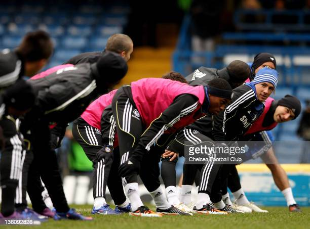 Fernando Torres of Chelsea during an open training sessioin at Stamford Bridge on December 19 2011 in London England