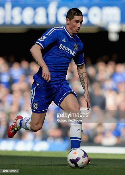Fernando Torres of Chelsea during the Barclays Premier League match between Chelsea and Arsenal at Stamford Bridge on March 22 2014 in London England
