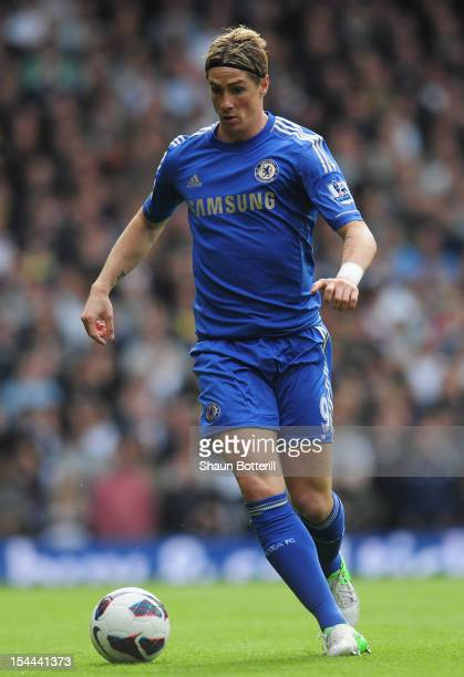 Fernando Torres of Chelsea in action during the Barclays Premier League match between Tottenham Hotspur and Chelsea at White Hart Lane on October 20...