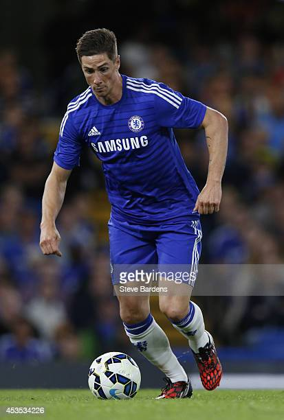 Fernando Torres of Chelsea in action during the preseason friendly match between Chelsea and Real Sociedad at Stamford Bridge on August 12 2014 in...