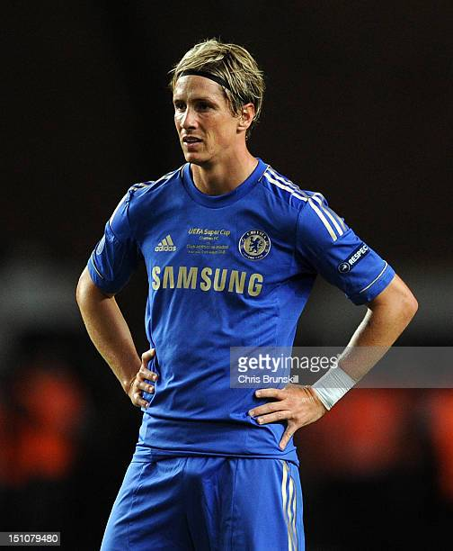 Fernando Torres of Chelsea looks dejected during the UEFA Super Cup match between Chelsea and Atletico Madrid at Louis II Stadium on August 31 2012...