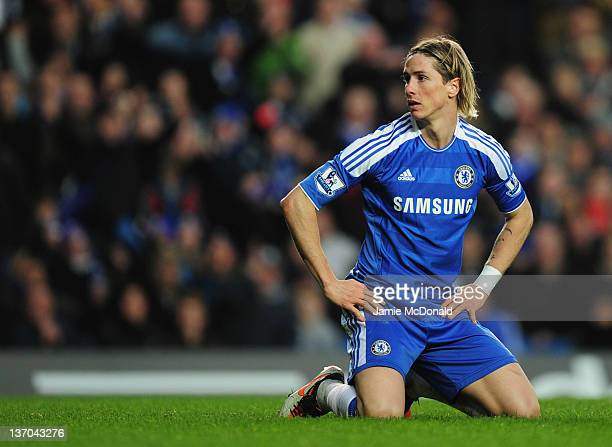 Fernando Torres of Chelsea looks on during the Barclays Premier League match between Chelsea and Sunderland at Stamford Bridge on January 14 2012 in...