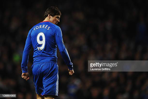 Fernando Torres of Chelsea looks thoughtful during the Barclays Premier League match between Chelsea and Liverpool at Stamford Bridge on February 6...