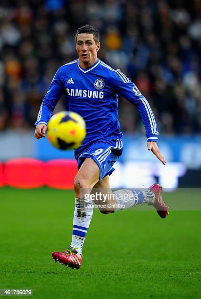 Fernando Torres of Chelsea on the ball during the Barclays Premier League match between Hull City and Chelsea at KC Stadium on January 11 2014 in...
