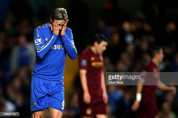 Fernando Torres of Chelsea reacts after a missed shot on goal during the Barclays Premier League match between Chelsea and Manchester City at...