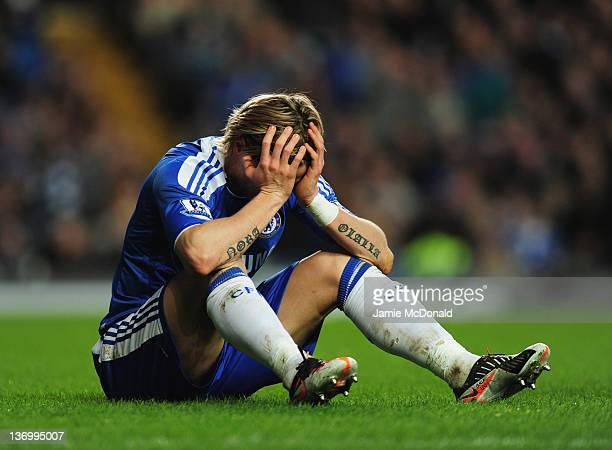 Fernando Torres of Chelsea reacts during the Barclays Premier League match between Chelsea and Sunderland at Stamford Bridge on January 14 2012 in...