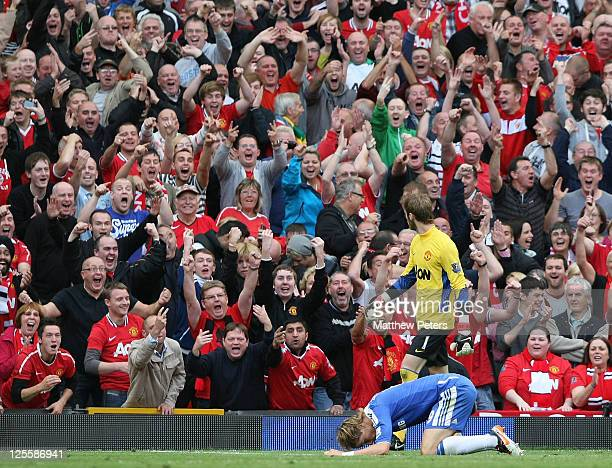 Fernando Torres of Chelsea reacts to missing an easy chance during the Barclays Premier League match between Manchester United and Chelsea at Old...