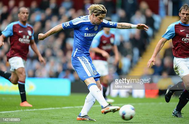 Fernando Torres of Chelsea scores during the Barclays Premier League match between Aston Villa and Chelsea at Villa Park on March 31 2012 in...