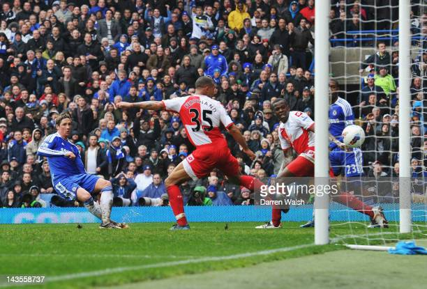 Fernando Torres of Chelsea scores his second goal during the Barclays Premier League match between Chelsea and Queens Park Rangers at Stamford Bridge...