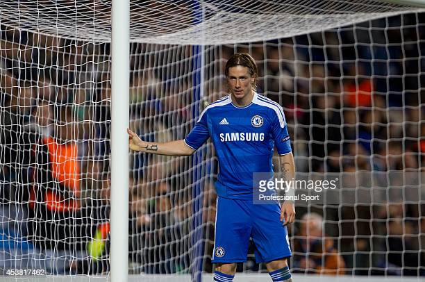 Fernando Torres of Chelsea waiting beside the goal during the UEFA Champions League Group E match between Chelsea and KRC Genk at Stamford Bridge on...