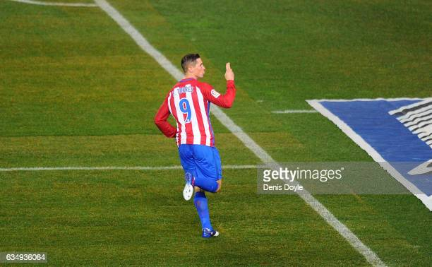 Fernando Torres of Club Atletico de Madrid celebrates after scoring his team's 1st goal during the La Liga match between Club Atletico de Madrid and...
