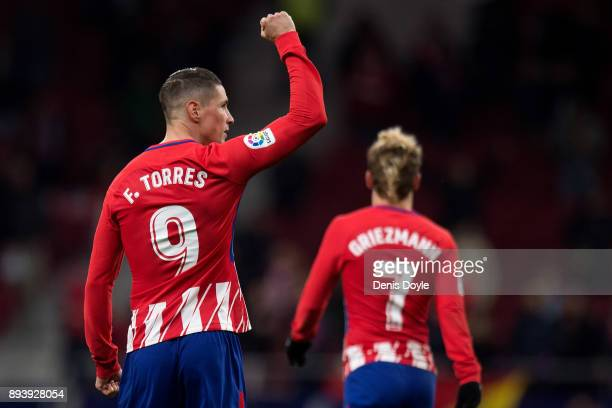 Fernando Torres of Club Atletico de Madrid celebrates after scoring his teamÕs opening goal during the La Liga match between Atletico Madrid and...