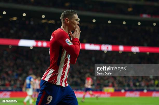 Fernando Torres of Club Atletico de Madrid celebrates after scoring his team's opening goal during the La Liga match between Atletico Madrid and...