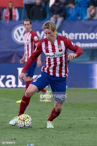 Fernando Torres of Club Atletico de Madrid looks on during the La Liga match between Club Atletico de Madrid and Granada CF at Vicente Calderon...