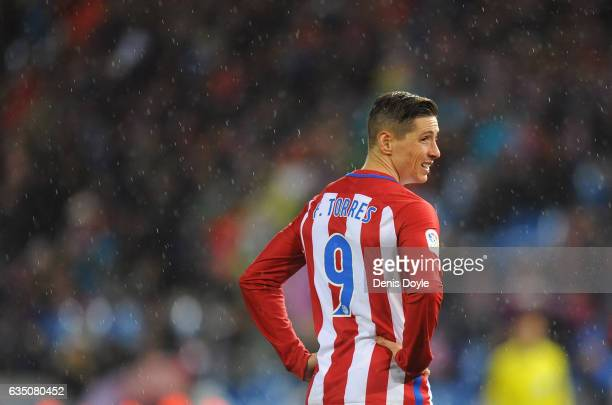 Fernando Torres of Club Atletico de Madrid looks on during the La Liga match between Club Atletico de Madrid and RC Celta de Vigo at Vicente Calderon...