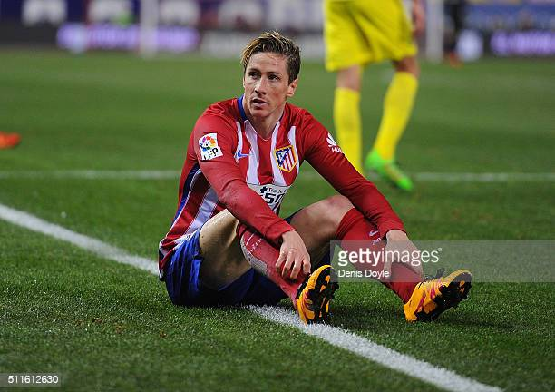 Fernando Torres of Club Atletico de Madrid reacts during the La Liga match between Club Atletico de Madrid and Villarreal CF at Vicente Calderon...