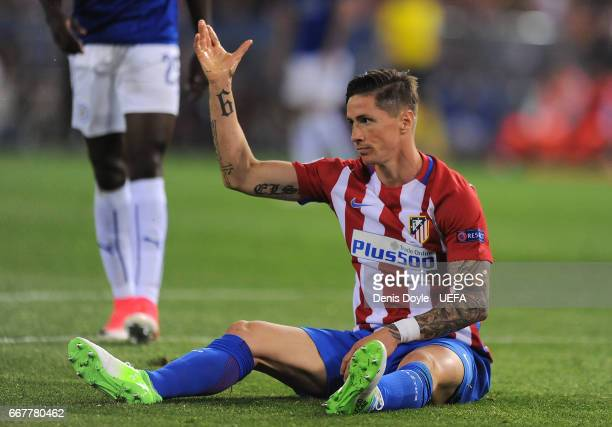 Fernando Torres of Club Atletico de Madrid reacts during the UEFA Champions League Quarter Final first leg match between Club Atletico de Madrid and...