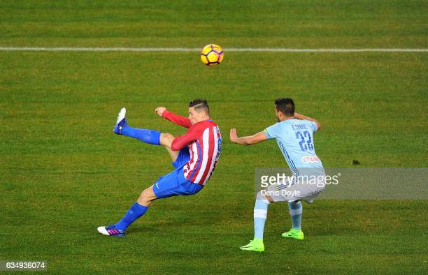 Fernando Torres of Club Atletico de Madrid scores his team's 1st goal during the La Liga match between Club Atletico de Madrid and RC Celta de Vigo...
