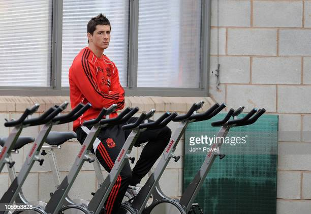 Fernando Torres of Liverpool attends a Liverpool FC training session at Melwood training Ground on October 22 2010 in Liverpool England