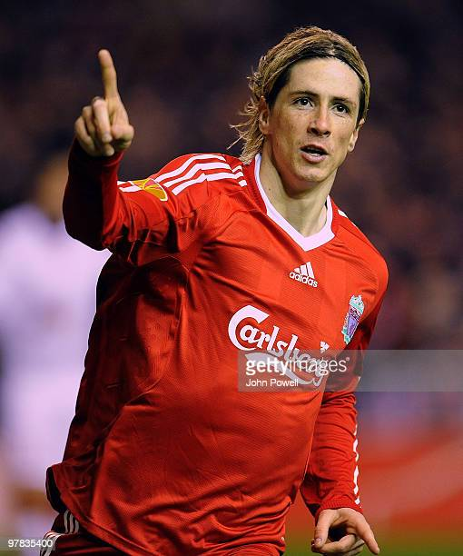 Fernando Torres of Liverpool celebrates after he scores the second goal during the UEFA Europa League Round of 16 second leg match between Liverpool...