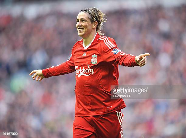 Fernando Torres of Liverpool celebrates after scoring a hattrick during the Barclays Premier League match between Liverpool and Hull City at Anfield...