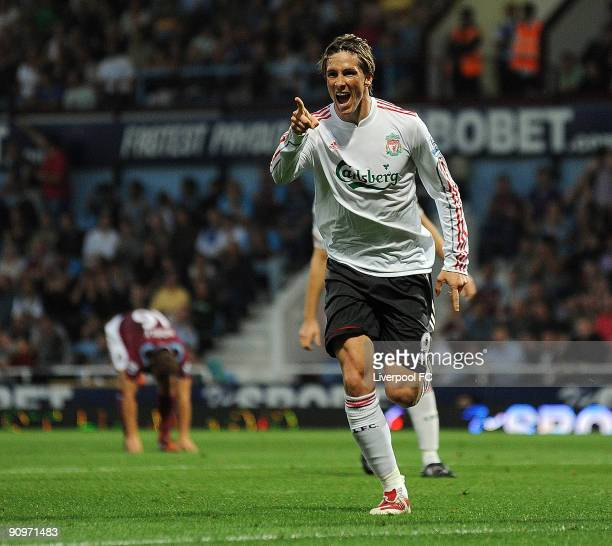 Fernando Torres of Liverpool celebrates after scoring the 3-2 goal for his team during the Barclays Premier League match between West Ham and...