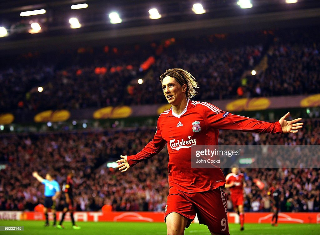 Fernando Torres of Liverpool celebrates after scoring the fourth goal during the quarter final second leg UEFA Europa League match between Liverpool and Benfica at Anfield on April 8, 2010 in Liverpool, England.