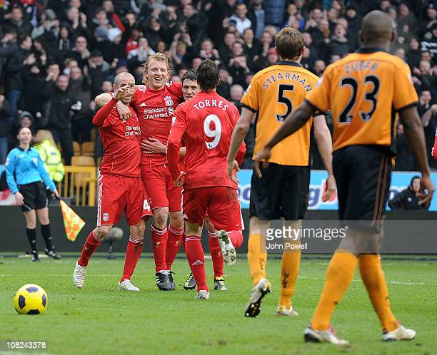 Fernando Torres of Liverpool celebrates after scoring the opening goal during a Barclays Premier League match between Wolverhampton Wanderers and...
