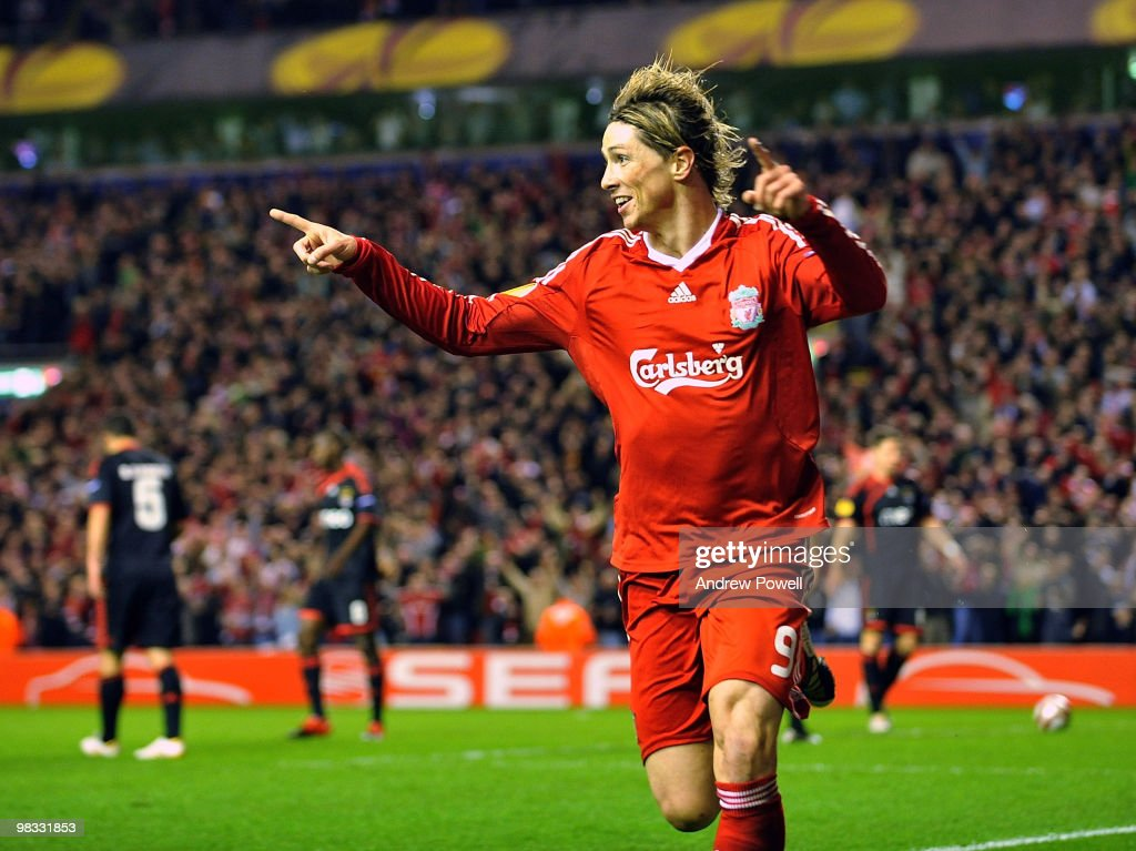 Fernando Torres of Liverpool celebrates after scoring the third during the quarter final second leg UEFA Europa League match between Liverpool and Benfica at Anfield on April 8, 2010 in Liverpool, England.