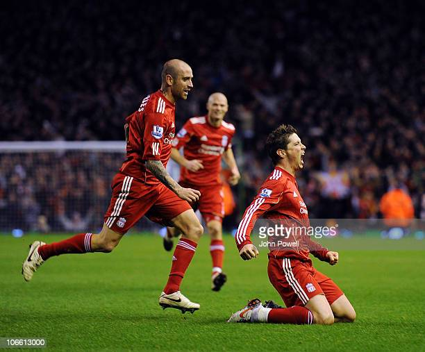 Fernando Torres of Liverpool celebrates his second goal during the Barclays Premier League match between Liverpool and Chelsea at Anfield on November...