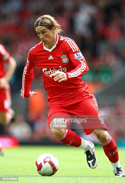 Fernando Torres of Liverpool during the Barclays Premier League match between Liverpool and Middlesbrough at Anfield on August 23 2008 in Liverpool...